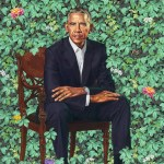 Barack Obama portrait by Kehinde Willy that hangs at the Smithsonianait at the Smithsonian of former President Barack Obama