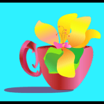 Flowering teacup with blue background
