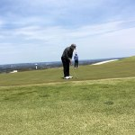 Scott Verplank on the greens at hole 2, Mountain Top