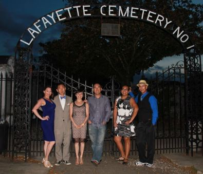 Amy and our gang at Lafayette Cemetery in New Orleans