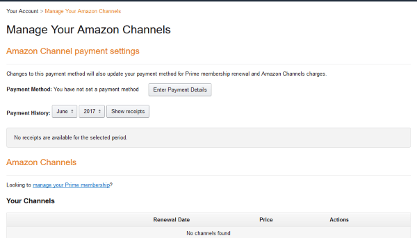 Amazon subscription page