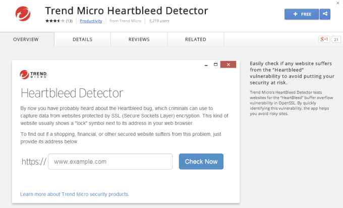 Trend Micro Heartbleed Scanner for Chrome
