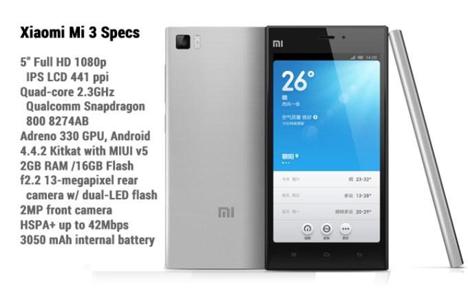 Xiaomi Mi 3 Specs