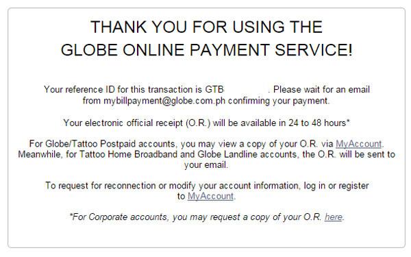 Globe Online Bills Payment Service 6 copy