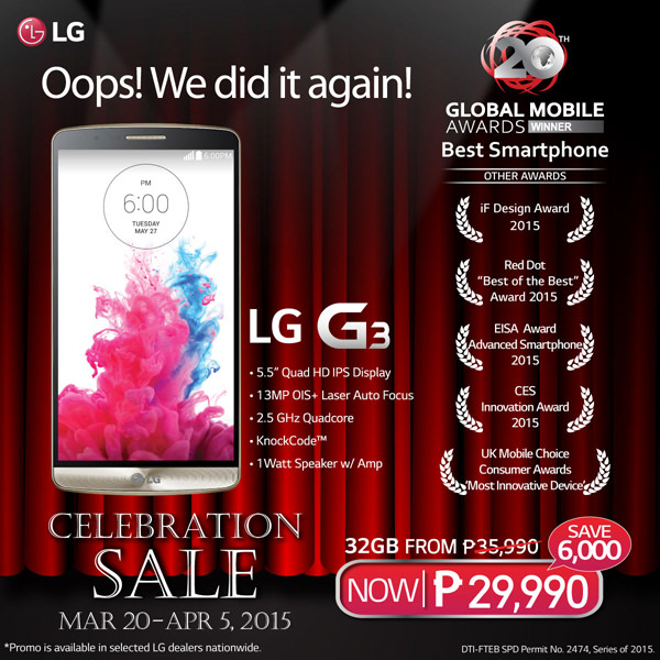 LG G3 celebration sale