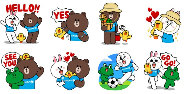 LINE x UNICEF Special Edition stickers