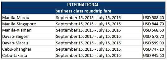 PAL International Business Class Sale