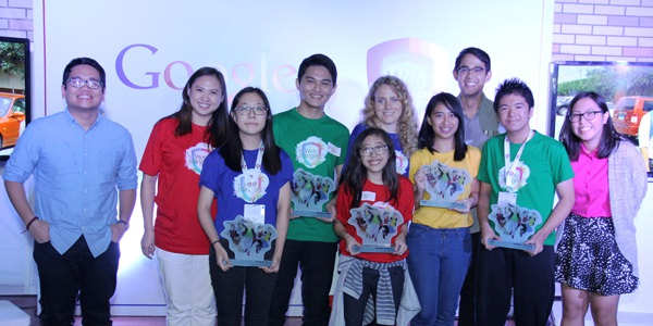 "Google Philippines awards the top prize in its Web Rangers ""Search for Online Heroes"" program to #CyberBully404. (L-R Gian Nealega, DM9 JaymeSyfu; Gail Tan, Google Philippines Head of Communications and Public Affairs; Web Rangers campaign winners Hyun Ju Song, Adj Regidor, Reanna Noel, Bea Aquino and Haedrick Daguman; Helena Lersch, Google Public Policy and Government Relations; NYC Chairperson Gio Tingson; Alexis Bisuna, DM9 JaymeSyfu"