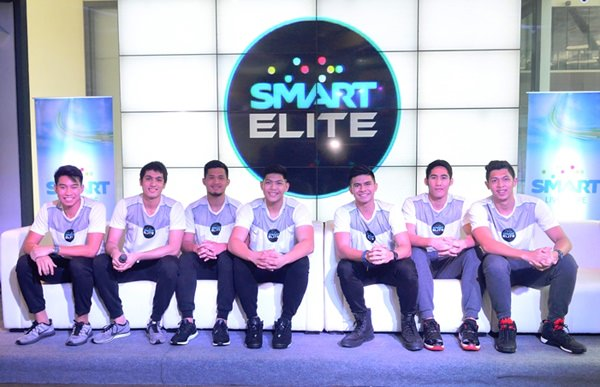 Smart Elite ambassadors promote the positive values of sports via living the Smart Life. In the photo are (from left): Jett Manuel (UP), Von Pressumal (ADMU); Gelo Alolino (NU); Prince Rivero (DLSU); Kiefer Ravena (ADMU); Mark Belo (FEU); Kevin Ferrer (UST). Also part of Smart Elite are Dawn Ochea (AdU) and Paul Varilla (UE).