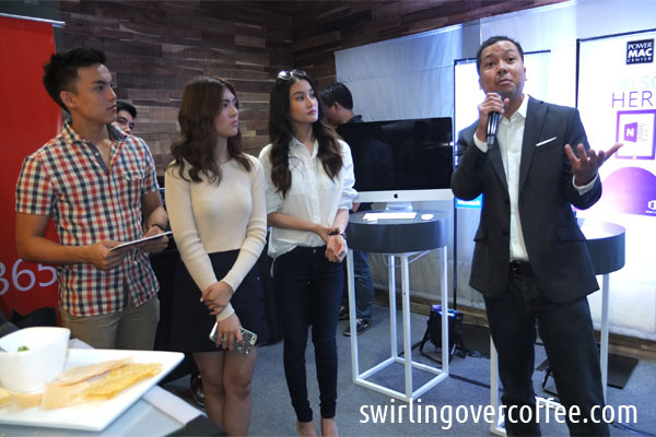 Jerry Bongco (rightmost), Director for Consumer Business Division at Microsoft Philippines, gives the closing remarks at the launch of Office 2016 for OS and iOS devices at Power Mac Center Rockwell. He is joined by Power Mac Center brand ambassadors Sofia Andres, Chienna Filomeno, and Alex Diaz.