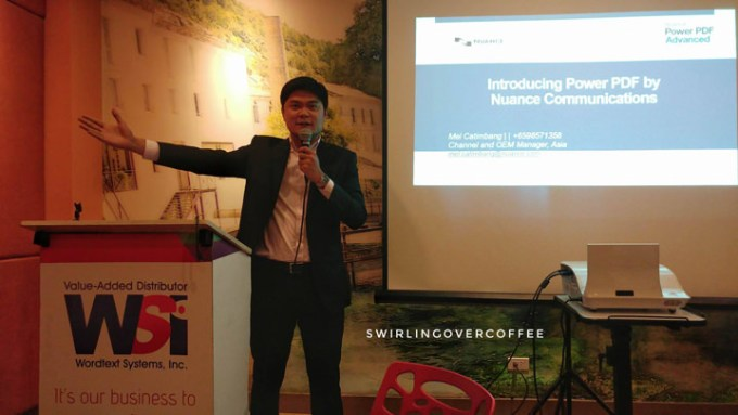 Emmanuel Catimbang, Channel & OEM Manager, Nuance Communications, Asia Pacific Rim. His talk about the more cost-efficient and feature-richer alternative to Adobe PDF and the constantly impressive Dragon Naturally Speaking dictating app, gave audiences pause.