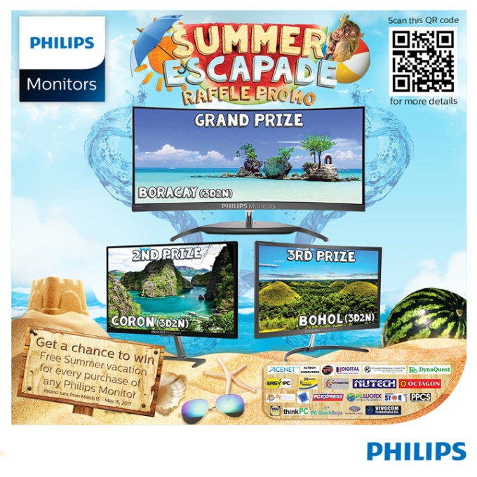 Buy a Philips Monitor for a chance to win a trip for two to Boracay, Palawan, or Bohol.