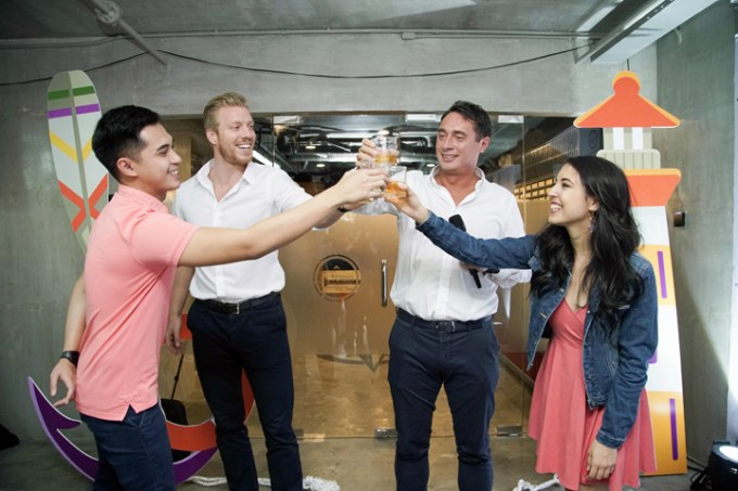 (L-R) A toast to another year of success: Young singer-actor Marlo Mortel, Philippines Urban Living Solutions (PULS) Group Director Jelmer Ikink, PULS Founder and Chief Executive Officer Mark Kooijman and celebrity guest Angelica Mocellin raise their glasses in celebration of opening the newest first-class MyTown dormitory.