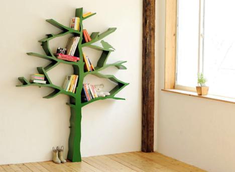 A magical bookshelf, shaped like a tree