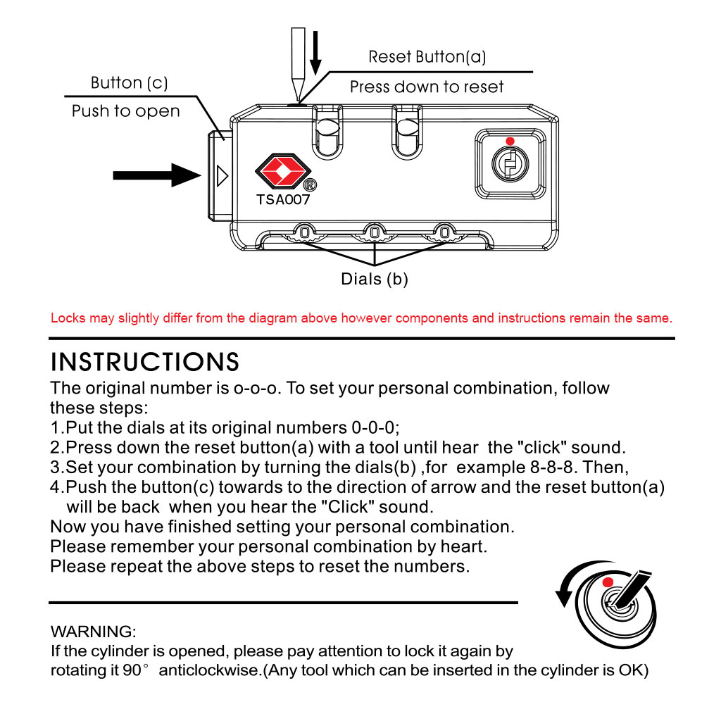 hight resolution of tsa lock instructions