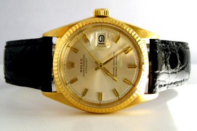 Rolex Datejust Automatic Watch 18K Yellow Gold Crocodile