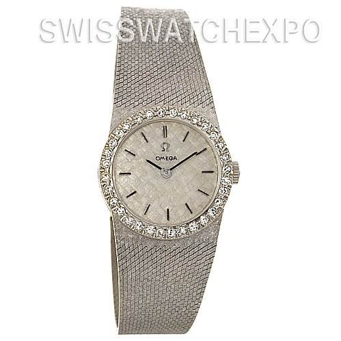 Omega Vintage Ladies 14k White Gold Diamond Watch