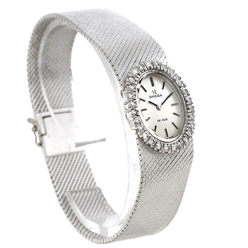 Omega Deville Vintage Ladies 18k White Gold Diamond Watch