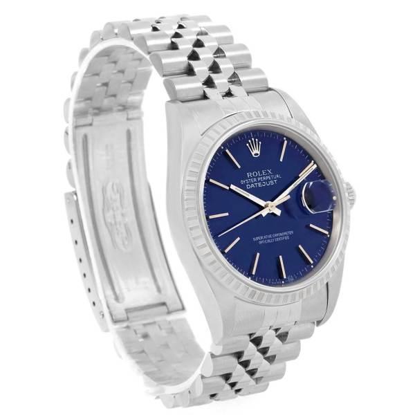 Rolex Datejust Steel Blue Baton Dial Automatic Mens