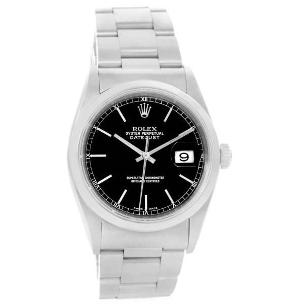 Rolex Datejust Black Baton Dial Automatic Mens Watch 16200