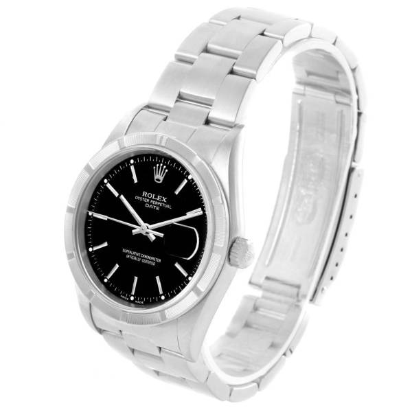 Rolex Date Stainless Steel Black Baton Dial Automatic Mens