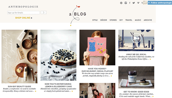 Content marketing Anthropologie blog