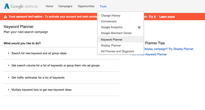 Maximising revenue SEO Adwords Keyword Planner