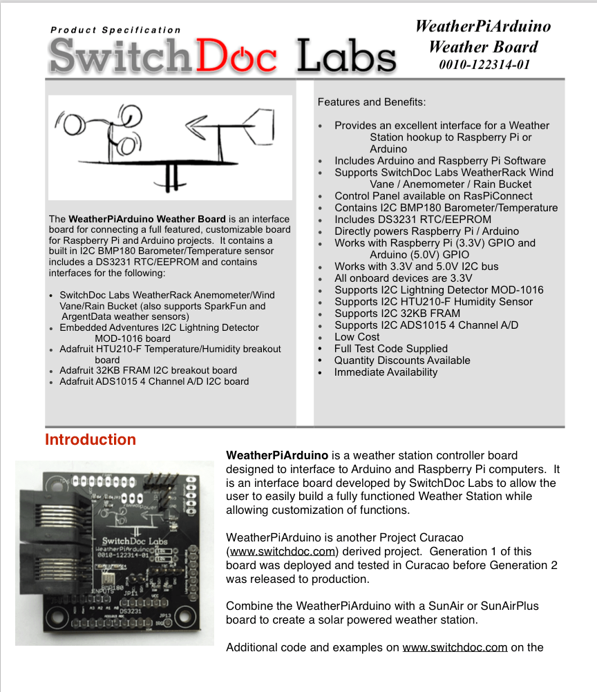 WeatherPiArduino Weather Board - SwitchDoc Labs on