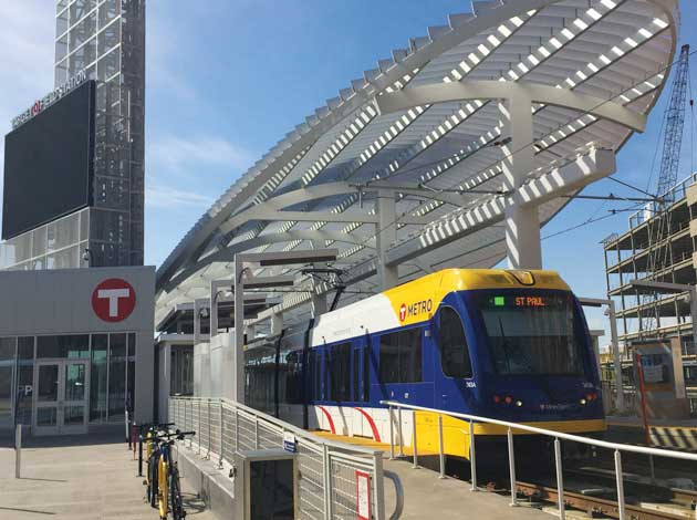A Green Line light rail train at Target Field Station. File photo