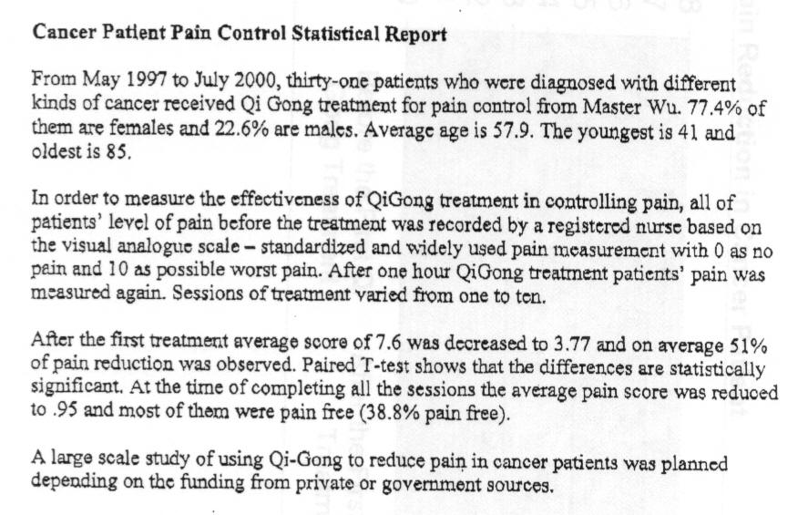 Cancer Pain Control Report