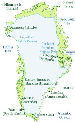 Karta över Grönland