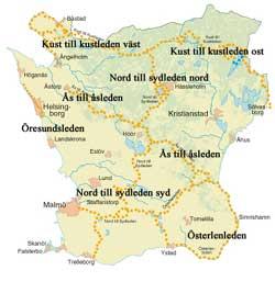 Karta över Skåneleden