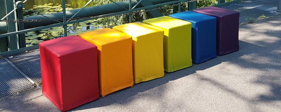 Farblehre -Regenbogenfahne rot orange gelb grün blau lila - SWOOFLE Mietmöbel
