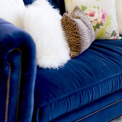 Navy Blue Velvet Sofa Low Seating Crushing On Sofas Swoon Worthy A Close Up Look At Stunning I M Currently