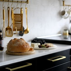 Gold Kitchen Runner Mats The Reveal Of Our Black White And Swoon Worthy Marble Effect Tiles Countertop With Cabinets Cabinet Handles Hanging