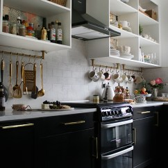 Gold Kitchen Black Island With Seating The Reveal Of Our White And Swoon Worthy Slate Floors Lowers Open Shelving