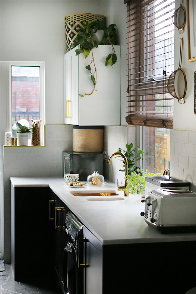 open kitchen sink easy to do backsplash the reveal of our black white and gold swoon worthy with cupboards shelving marble tiles
