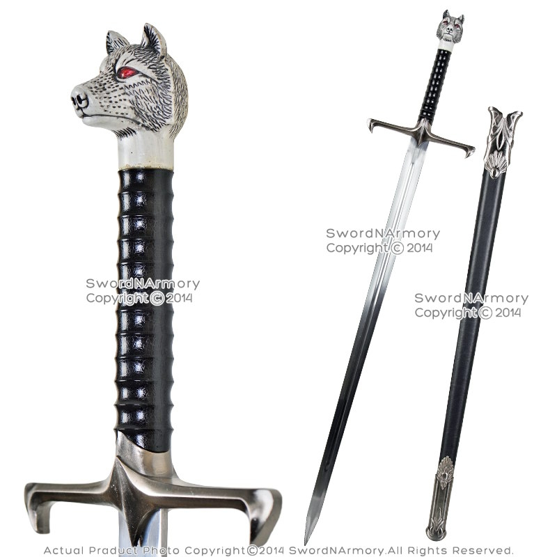 Two Handed Dire Wolf Fantasy Medieval Knight Long Sword