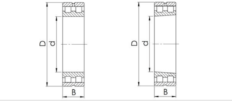 Sectional view of double row cylindrical roller bearing