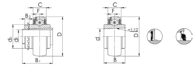 Inserted bearing UK-type structure drawing