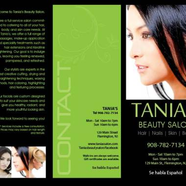 Tania's Beauty Salon Brochure Front