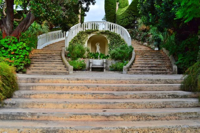 Grand staircase in garden, Rothschild Villa, Nice, France
