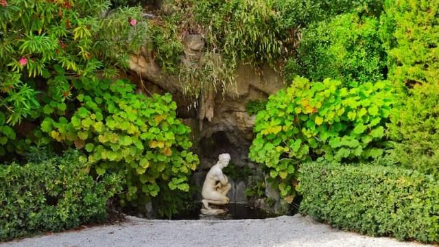 Statue in front of villa, Rothschild Villa, Nice, France