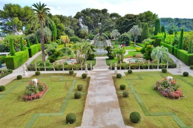 Terrace view of gardens, Rothschild Villa, Nice, France