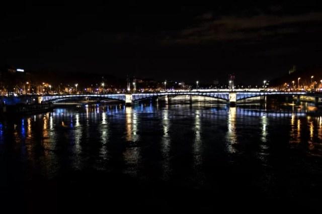 Lyon, France in lights at night