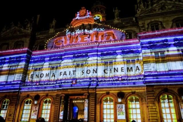 Fête des Lumières in Lyon, France city hall