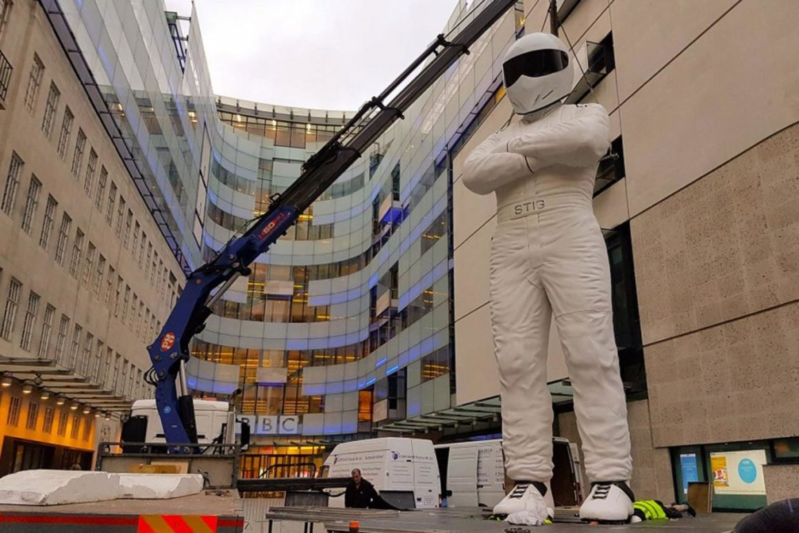 A giant Stig has appeared at the top of Regent Street for the Top Gear re-launch
