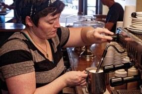 woman using milk machine