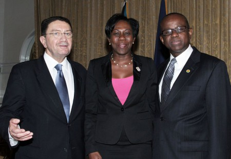 Taleb Rifai UNWTO Secretary General, Jeanne Rogers-Vanterpool Commissioner of Tourism St Martin, Hugh Riley CTO Secretary General