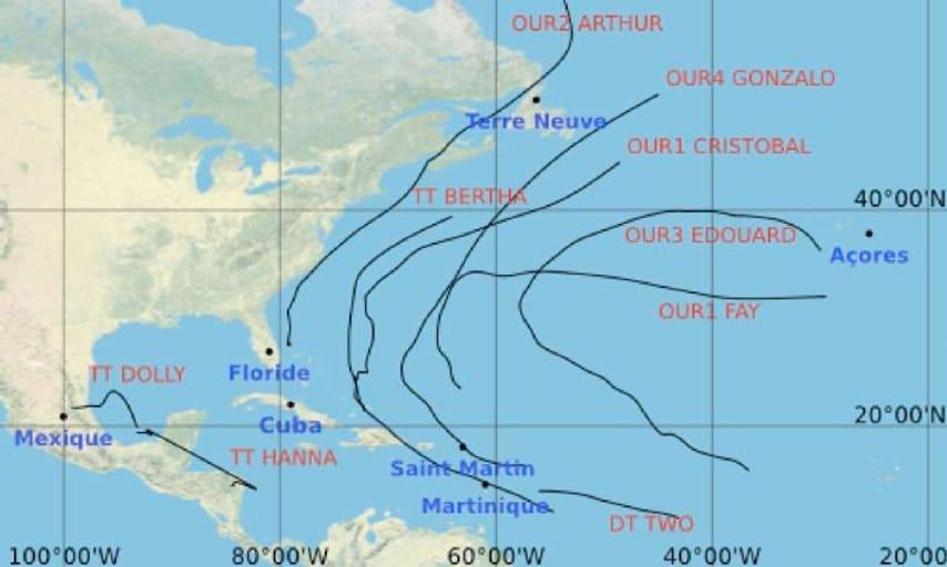 Trajectoires des 9 cyclones de la saison 2014. DT = dépression tropicale, TT = tempête tropicale, OUR1 = ouragan de classe 1